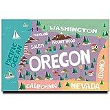 Kühlschrankmagnet mit Oregon-Karte, Portland-Poster,
