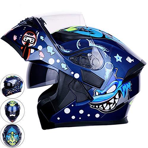 HBRT Casco de Moto abatible, Cascos de Moto de Doble Lente, Casco de Moto, Casco Integral Casquillos de Motocross al Aire Libre Antiniebla Resistente al Sol,L
