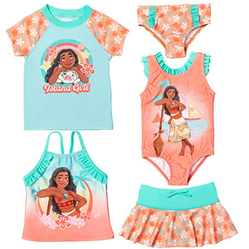 Disney Princess Moana Little Girls Swimsuit Set: Rash Guard Tankini Skort One-Piece 6X Orange
