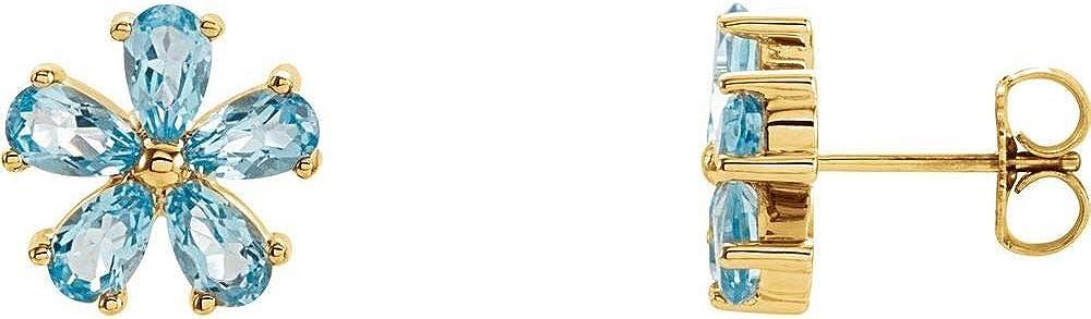 Sky Blue Topaz Stud Earrings (Width = 10.5mm)