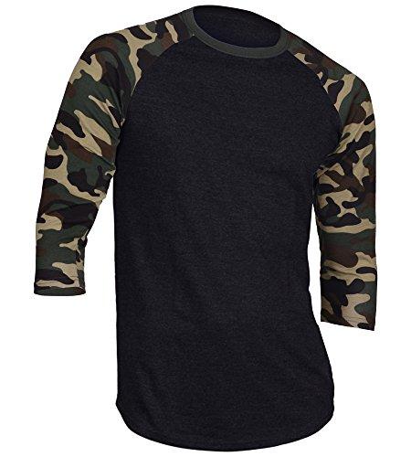 DREAM USA Men's Casual 3/4 Sleeve Baseball Tshirt Raglan Jersey Shirt Black/Dk Camo Medium