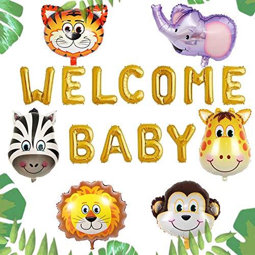 JeVenis Ensemble de 7 Bienvenue Bébé Jungle Safari Ballons Safari Baby Shower Décoration Jungle Oh Baby Banner