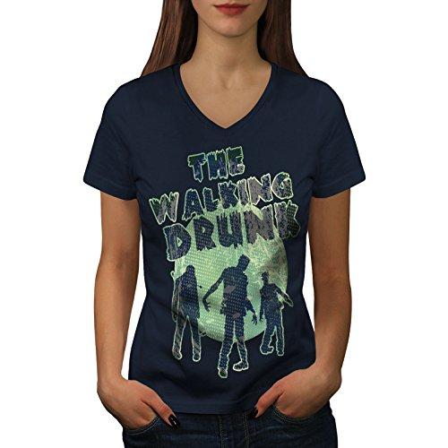 wellcoda Gehen Betrunken Party Hirsch Frau V-Ausschnitt T-Shirt Zombie Grafikdesign-T-Stück