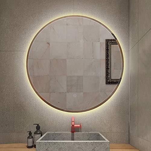 Flyelf Badspiegel mit LED Beleuchtung, Wandspiegel Rund mit Touch Schalter, Antibeschlag (Warmweiß/60x60x4.5cm)