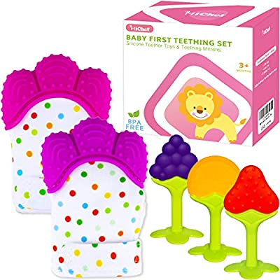 Amazon - 50% Off on Teething Mittens for Baby (2 Pack) with Baby Teething Toys (3 Pack)
