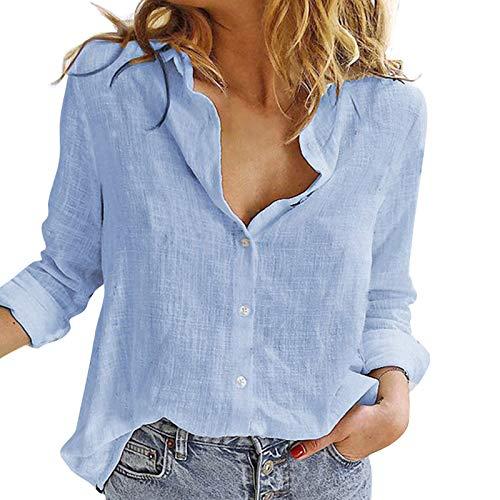 HenzWorld Blusa de Lino de Algodón para Mujer Blusa Larga con Botones para Mujer Camisas de Manga Larga Informales de Color Sólido (Azul Talla L)