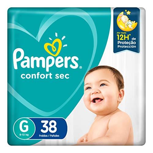 Fralda Pampers Confort Sec G 38 unidades, Pampers, Branco, Grande, pacote de 38
