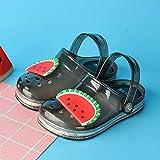 Kirin-1 Pantoufles pour Enfants Pas Cher,LED Flashing Pantoufles De Fruits D'éTé Fille D'éTé BéBé Pantoufles FraîChes Chaussures GeléEs-Noir_31 Longueur De La Chaussure 17.6cm