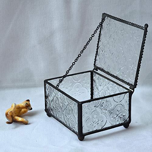 LIUJUAN Joyero Femenino Personalizado Joyero Joyero Anillo Anillo Caja Vidrio Caja Almacenamiento Vidrio-Plata Estaño_8 * 8 * 5 Cm