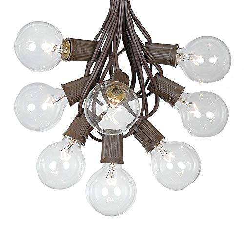 G50 Patio String Lights with 25 Clear Globe Bulbs – Outdoor String Lights – Market Bistro Café Hanging String Lights – Patio Garden Umbrella Globe Lights - Brown Wire - 25 Feet (Renewed)