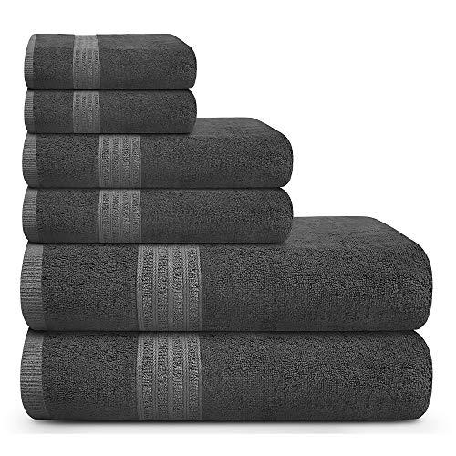 TRIDENT Toallas de baño Grandes y Suaves, 100% algodón, Toallas de Aire enriquecido, Juego de 6 Piezas: 2 Toallas de baño, 2 Toallas de Mano, 2 toallitas, tecnología patentada Air Rich, (carbón)