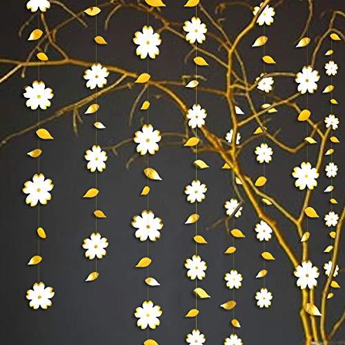 42 Ft White Gold Paper Flower Garland Gold Foil Hanging Leaf Flower Streamer Banner for Bachelorette Engagement Wedding Birthday Bridal Shower Anniversary Tea Party Decoration Supplies (3 Pack)
