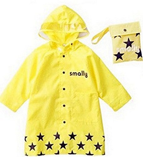 Anndeeson Cute Cartoon Children Kid Raincoat Waterproof Hooded Raincoat - Yellow
