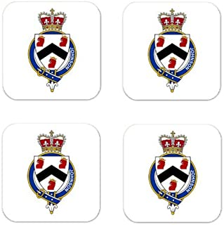 Johnson England Family Crest Square Coasters Coat of Arms Coasters - Set of 4