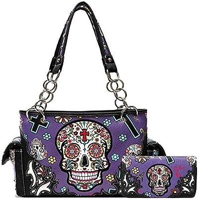 Sugar Skull Rose Flower Day of the Dead Concealed Carry Purse Totes Women Handbag Shoulder Bag Wallet Set (2 Black Set)