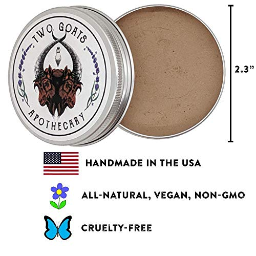 Travel Dry Shampoo Powder   Eco Friendly, All Natural Root Touch Up, Vegan Ingredients   Hair Powder Volumizer   For Brown Hair, Brunette and Dark Hair. (Brun) Two Goats Apothecary