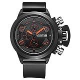 XHH Relojes Hombre, Multifuncional para Hombres Reloj Deportivo de Silicona Reloj de Cuarzo con Correa Impermeable Espejo de Vidrio Reforzado con minerales Adecuado para Todas Las Ocasiones