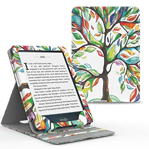 MoKo Hülle Kompatibel mit Kindle Paperwhite 11. Generation 2021, Vertikal Flip Kunstleder Schutzhülle mit Auto Sleep/Wake 3 Einstellbare Winkel Hülle für Kindle Paperwhite 6,8 Zoll, Glück Baum