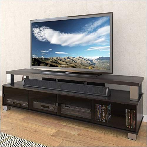 Pemberly Row 75' 2 Tier Entertainment Center TV Stand Console, for TV's up to 80', in Ravenwood Black