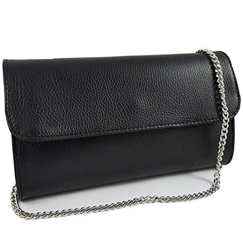 Freyday Echtleder Damen Clutch Tasche Abendtasche Muster Metallic 25x15cm (Schwarz)