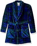 Komar Kids Boys' Big Printed Fleece Robe, Blue Plaid, M