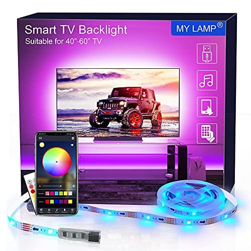 MY LAMP Retroilluminazione LED per TV APP,2.5m Striscia LED USB con Telecomando per 40-60 Pollici Luci LED TV Controllo APP RGB 5050 Sincronizzazione con la Musica