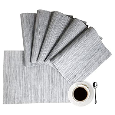 Placemats,HQSILK Table Mats,Placemat Set of 6 Non-Slip Washable Place Mats,Heat Resistant Kitchen Tablemats for Dining Table (Gray)
