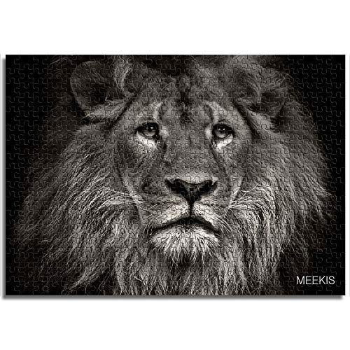 BOVIENCHE Wooden Jigsaw Puzzle 1000 Piece Lion In Black and White Tones Children's Year Unique Gift Puzzle Casual Classic Modern Home Decoration (75 X 50Cm)