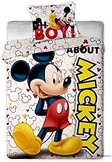 MICKEY Parure de couette enfant - 1 housse de couette 140x200 cm + 1 taie d'oreiller 63x63 cm blanc