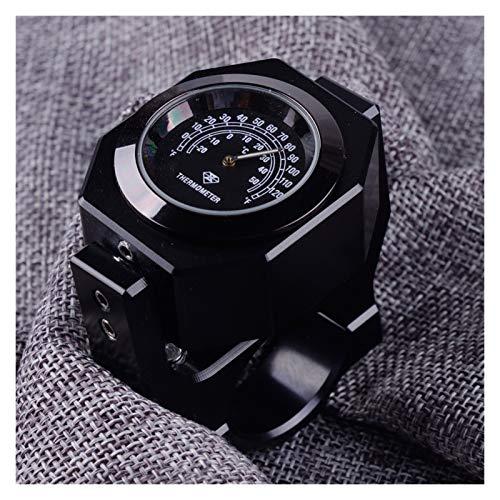 linger Motocicleta Negra ATV Scooter 22-28mm Termómetro de Manillar Tiempo de Temperatura Reloj Accesorios de Reloj
