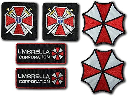 Resident Evil Umbrella Corporation Kostüm Cosplay Patches Set von 6 bestickten Abzeichen mit Reifen und Schlaufe Rückseite