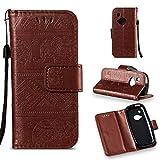 LMFULM® Hülle für Nokia 3310 PU Leder Magnet Brieftasche Lederhülle Elefant Prägung Design Stent-Funktion Handyhülle für Nokia 3310 Braun