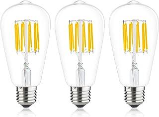 Bonlux 3-PCS 10W ST64 E27 LED Long Filament Ampoule Blanc Naturel 4000K Edison vis ES Cage d'écureuil LED Antique équivale...