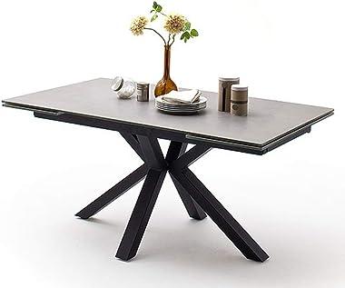 PEGANE Table à Manger Extensible en céramique Gris Clair et métal Noir Mat - L.160-240 x H.76 x P.90 cm