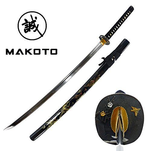 "MAKOTO Hand Forged Razor Sharp 41"" Black Samurai Katana Sword - Hand Painted Golden Cranes on Scabbard"