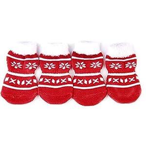 Pengyu Chaussettes de Noël antidérapantes en Coton pour Animal Domestique Motif Pattes de Chien