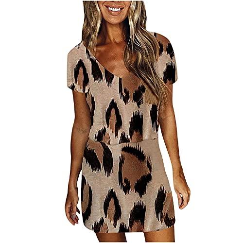 Women Dresses Sale Promotion Clearance Fashion Ladies Casual V-Neck Sleeveless Leopard Printing Loose Vest Sling Dress UK Size Party Elegant Dress