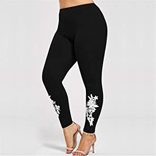 Solid stick scraps of lace big yards bottoming pants feet Slim hip feet pants leggings Ms. printing bottoming lace pants feet Sexy Self-Cultivation (Color : Black, Size : 3XL)