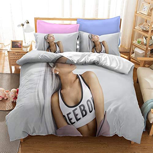 Ariana Grande - Juego de cama Beauty Singer funda nórdica 100% microfibra decoración de dormitorio adecuado para hombres y mujeres (Ariana Grande2, 155 x 220 cm + 80 x 80 cm x 2)