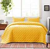 Exclusivo Mezcla 3-Piece Queen Size Quilt Set with Pillow Shams, as Bedspread/Coverlet/Bed Cover(Ellipse Yellow) - Soft, Lightweight, Reversible& Hypoallergenic