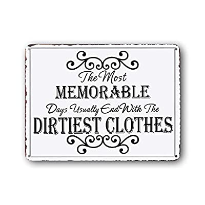 Goutoports Laundry Room Vintage Metal Sign Memorable dirtiest clothes Decorative Signs Wash Room Home Decor Art Signs 7.9x11.8 Inch