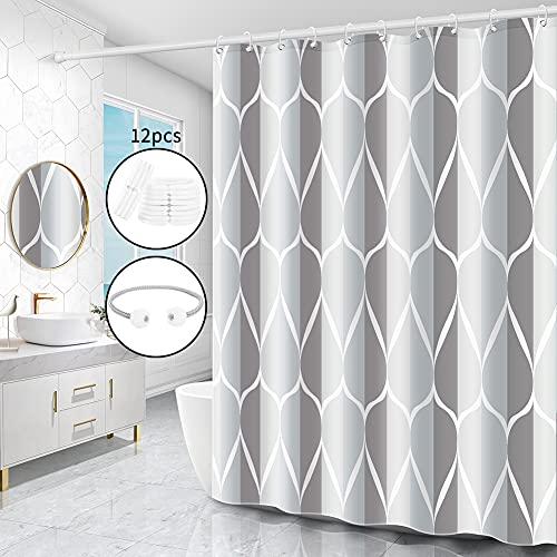 Miorkly Duschvorhang,Waschbar Anti-Bakteriell Shower Curtains,AntiSchimmel Wasserabweisend Badevorhang,Duschvorhänge Textil Aus Polyester mit 12 Duschvorhangringen(grau,180x180cm)