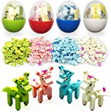 QINGQIU 4 Pack Unique Unicorn Building Blocks Toys in Plastic Easter Eggs for Kids Boys Girls Easter Basket Stuffers Fillers Gifts Party Favors