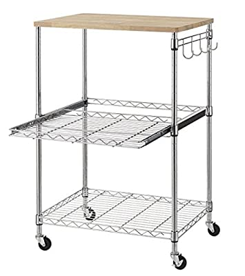 Finnhomy 3-Tier Wire Rolling Kitchen Cart, Food Service Cart, Microwave Stand, Oak Cutting Board and Chrome by