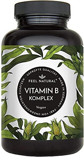 Vitamin B Komplex Kapseln - Mit 500 µg Vitamin B12 pro Tagesdosis - Besonders hochdosiert (10x) - 180 vegane Kapseln im 6 Monatsvorrat. Mit bio-aktiven Vitamin B-Formen - in Deutschland produziert