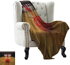 LsWOW Warm Blanket Bowling Party,Alley with Red Skittle in Center Target Score Winning Competition, Pale Brown Red White Cozy and Durable Fabric-Machine Washable 50
