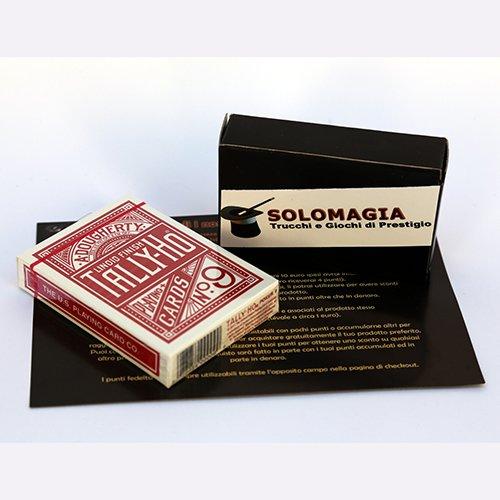 Mazzo di carte Tally Ho Circle Back - Mazzo regolare formato poker dorso rosso - Mazzi Tally Ho - Carte da gioco - con omaggio esclusivo firmato SOLOMAGIA