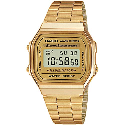 Casio Men's Digital Watch with Stainless Steel Strap A168WG-9WDF