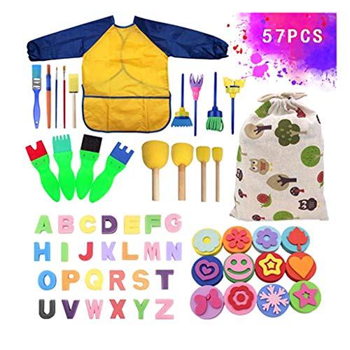 PHILSP Waschbare Schwammpinsel mit Stoffbeutel Kids Paintbrush Toy 57 Stück/Set Farbe Random