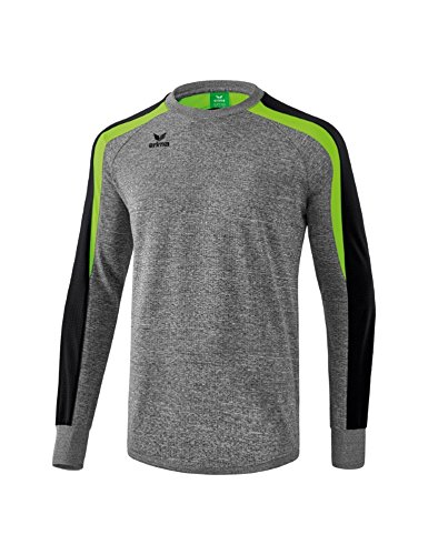 Erima LIGA LINE 2.0 Sweatshirt, grau Melange/Schwarz/Green Gecko, S